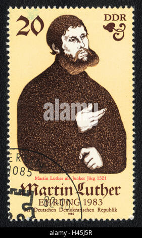 A postage stamp printed in DDR Germany, shows Martin Luther, Christian theologian, 1982 - Stock Photo