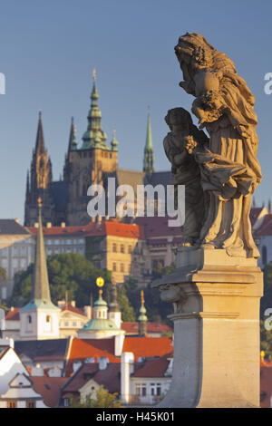 Czechia, Prague, Prague Castle, Charles Bridge, statue, - Stock Photo
