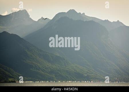 Switzerland, canton Vaud, Lake Geneva, mountains, sailboats, - Stock Photo