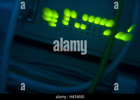 Computer, back, light-emitting diodes, blur, server, diodes, headlights, light, green, neon light, neon green, brightly, - Stock Photo