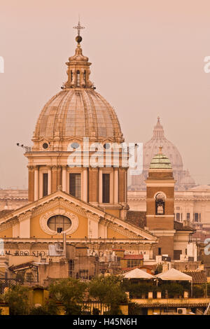 Italy, Rome, town view, church San Carlo al Corso, background, Peter's cathedral, - Stock Photo