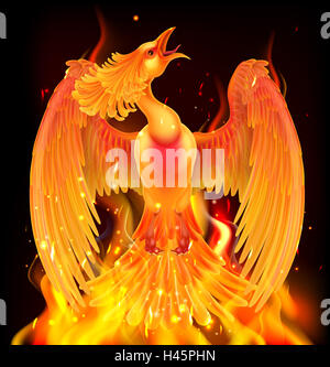 A phoenix bird rising from flames, fire and ashes - Stock Photo