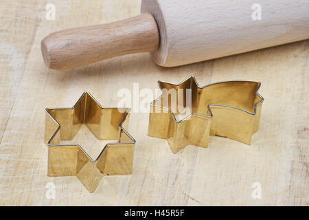 Christmas, cookie cutters, rolling pin, - Stock Photo