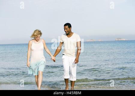 Couple, walking, beach, walk, enjoying, smiling, - Stock Photo