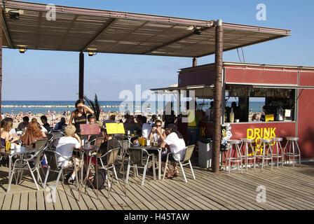 Spain, Catalonia, Barcelona, La Barceloneta, Platja de Sant Miquel, Runable aground, sea, - Stock Photo