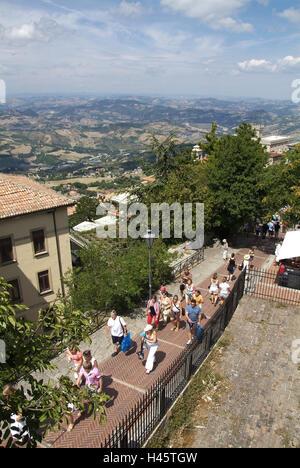 San Marino, Monte Titano, fortress La Guaita, passer-by, - Stock Photo