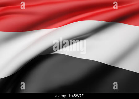 3d rendering of Republic of Yemen flag waving - Stock Photo
