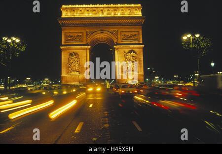 France, Paris, triumphal arch, Arc de Triomphe, night, monument, landmark, lights, traffic, cars, street lamps, - Stock Photo