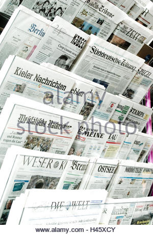Newsstand, daily press, press, newspapers, media, newspaper, newspapers, print media, messages, information, currently, - Stock Photo