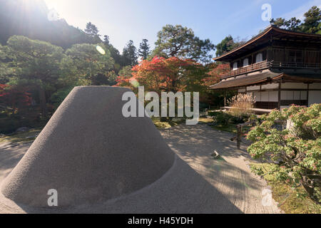 Kyoto, Japan - Nov 11, 2015: Ginshadan sand,  zen garden, at the Ginkakuji temple, Kyoto, Japan. - Stock Photo