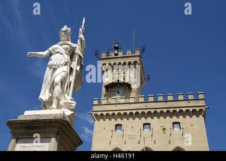 San Marino, Monte Titano, Old Town, Piazza della Liberta, city hall, Statua della Liberta, - Stock Photo