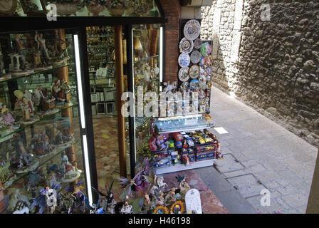 San Marino, Old Town, lane, souvenir shop, - Stock Photo