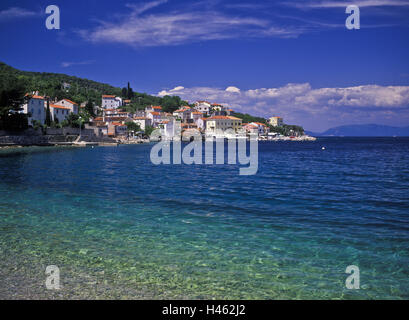 Croatia, Kvarner bay, island Cres, Valun, local view, place, houses, buildings, Adriatic, waters, architecture, - Stock Photo
