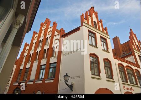 Germany, Mecklenburg-Western Pomerania, Wismar (city), Altstadt, Eiscafe, facade, detail, - Stock Photo