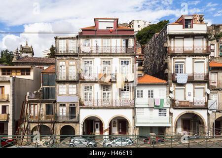 Decrepit facades in Porto, Portugal - Stock Photo