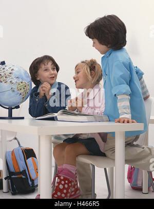 Classrooms, boys, girls, book, child globe, happy, school, school desk, person, children, three, twins, siblings, - Stock Photo