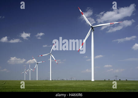 Germany, Saxony-Anhalt, Weissenfels, wind park, scenery, wind power station, wind park, turbines, power production, - Stock Photo