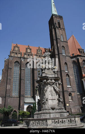 Poland, Wroclaw, Nepomuk monument in front of the cross church, - Stock Photo