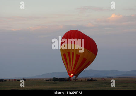 Balloon safari in the Masai Mara, Africa, Kenya, - Stock Photo