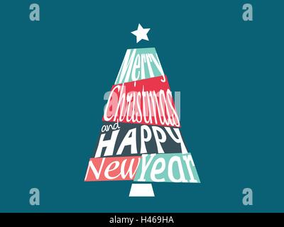 Merry Christmas and Happy New Year greetings postcard with lettering and calligraphic font inside colorful tree - Stock Photo