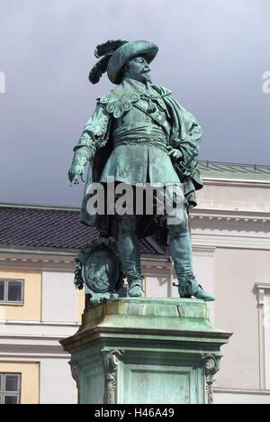 Sweden, Bohuslän, Gothenburg, Gustav Adolfs Torg, monument, Gustav II. Adolf, - Stock Photo