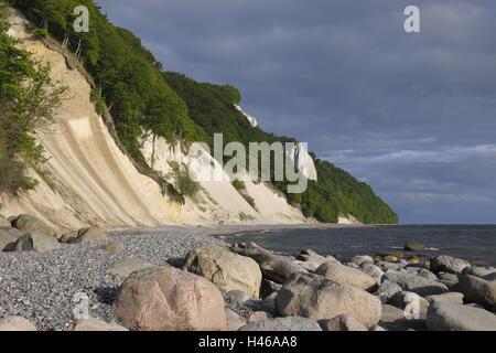 Chalk coast, Jasmund National Park, island Rügen, Mecklenburg-Western Pomerania, Germany, - Stock Photo