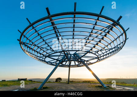 The Halo, a panopticon on Top o' Slate above Haslingden in the Lancashire Pennines - Stock Photo