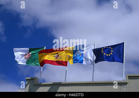 Spain, the Canaries, island Fuerteventura, flags, flags, the EU, Council, Europe, countries, nationality, national - Stock Photo