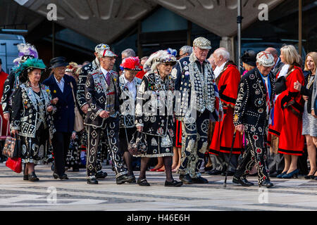 Pearly Kings and Queens Parade Around The Guildhall Yard During The Annual Pearly Kings and Queens' Harvest Festival, - Stock Photo