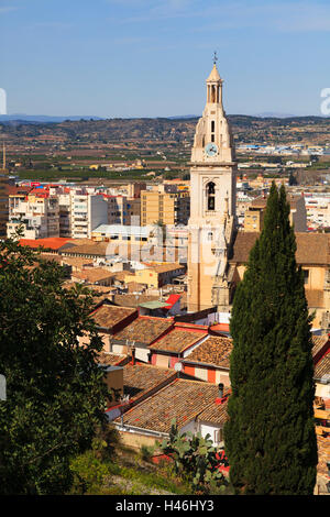 Bell Tower of the Colegiata Basilica de Santa Maria in Xativa Spain - Stock Photo