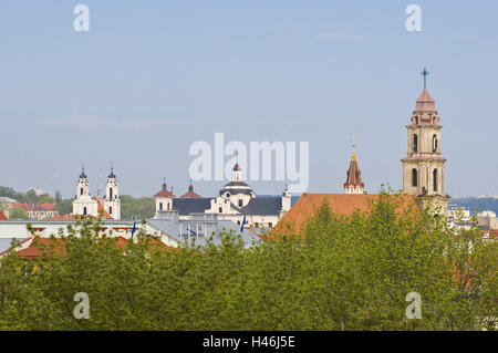 Lithuania, Vilnius, Old Town, town view, churches, towers, - Stock Photo