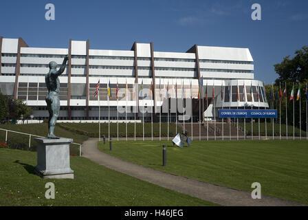 France, Alsace, Strasbourg, European Parliament, flags, buildings, architecture, European Parliament, parliament, - Stock Photo