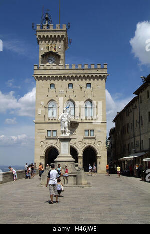 San Marino, Monte Titano, Old Town, Piazza della Liberta, city hall, Statua della Liberta, passers-by, - Stock Photo