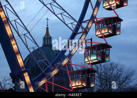 Berlin, Alexanderplatz, Ferris wheel in front of the Berlin Cathedral, evening, detail, - Stock Photo