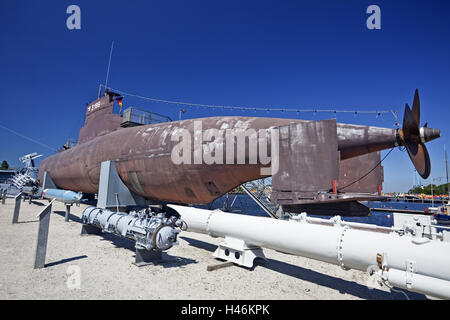 Germany, Wilhelmshaven, submarine U10, German naval museum on the south beach Wilhelmshaven, - Stock Photo