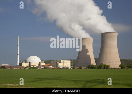 Germany, Lower Saxony, nuclear power plant Grohnde on the Weser, - Stock Photo