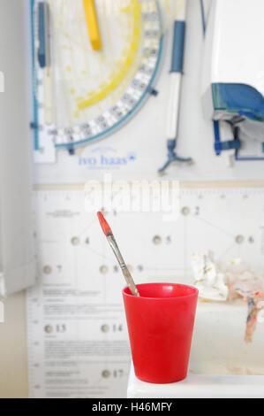 Mug, red, brush, - Stock Photo