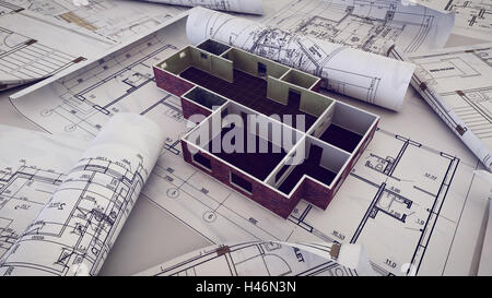 Architecture Blueprints 3d 3d rendering of architect workplace. architectural project stock