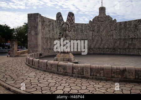 monument in merida in mayan style - Stock Photo