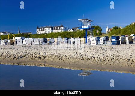 Beach with hotel Ahlbecker Hof, Ahlbeck, Usedom Island, Mecklenburg Western Pomerania, Germany - Stock Photo