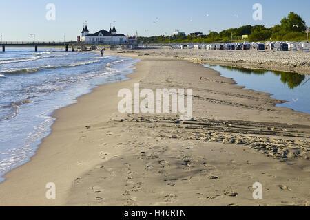 Pier in Ahlbeck, Usedom, Mecklenburg Western Pomerania, Germany - Stock Photo