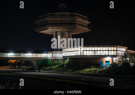 Lancaster (Forton) Services, UK, M6 motorway at night. The Pennine Tower restaurant (1965) is a listed building - Stock Photo