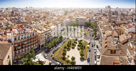 View from the tower of the Cathedral on the Plaza de la Reina, Valencia, Spain - Stock Photo