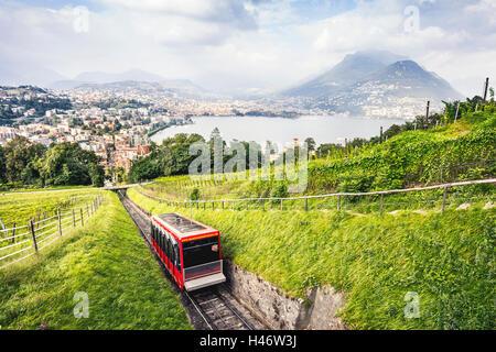 Ascent to Monte San Salvatore, Lugano, Ticino, Switzerland - Stock Photo