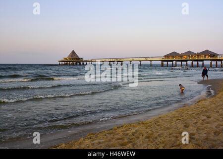 Pier in the Baltic Sea resort Heringsdorf, Usedom Island, Mecklenburg-Western Pomerania, Germany - Stock Photo