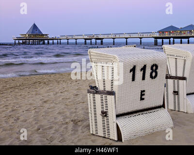 Pier in the Baltic Sea resort Heringsdorf, Usedom Island, Mecklenburg-Western Pomerania, Germany - Stock Photo