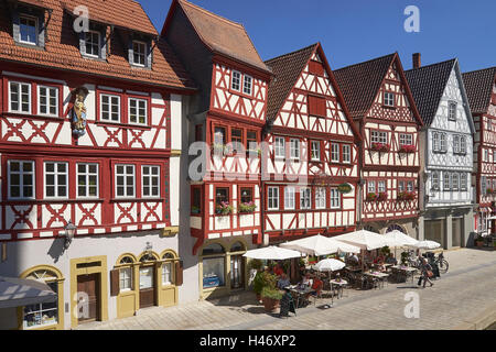 Half-timbered houses in Ochsenfurt, Lower Franconia, Bavaria, Germany - Stock Photo