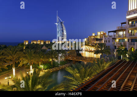Burj Al Arab and Medinat hotels, 7 stars hotel, Jumeirah, Dubai, United Arab Emirates, - Stock Photo