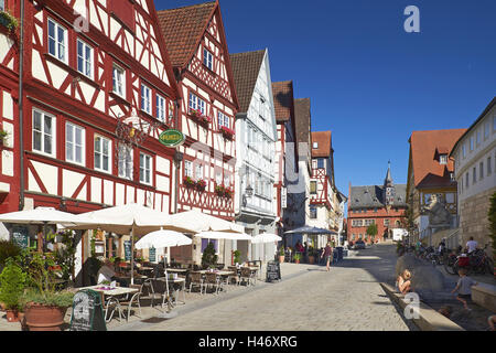 Half-timbered houses with town hall in Ochsenfurt, Lower Franconia, Bavaria, Germany - Stock Photo