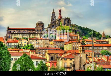 View of Le Puy-en-Velay, a town in Haute-Loire, France - Stock Photo